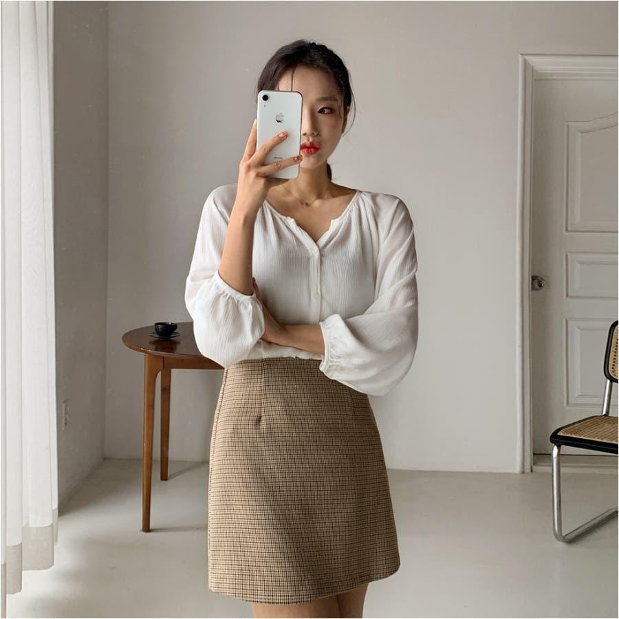 ミニハウンドトゥースジャケット+Aラインミニスカート★韓国ファッション/カジュアル/デイリールック/フェミニンルック/オルチャンファッション 8