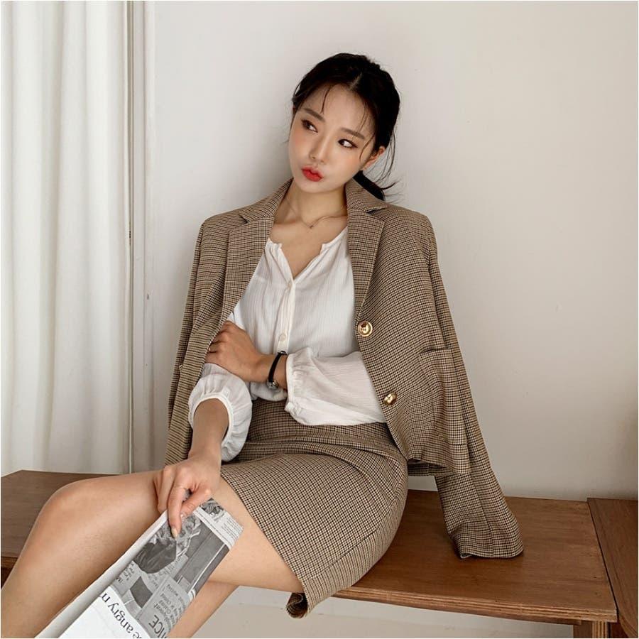 ミニハウンドトゥースジャケット+Aラインミニスカート★韓国ファッション/カジュアル/デイリールック/フェミニンルック/オルチャンファッション 9