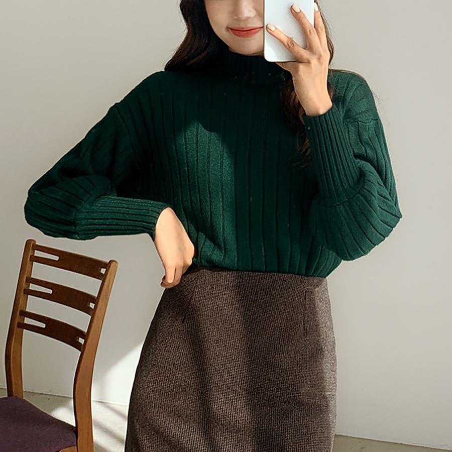 ボールドリブバルーンスリーブハイネックニット★韓国ファッション/カジュアル/デイリールック/フェミニンルック/オルチャンファッション 2