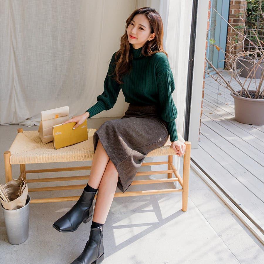 ボールドリブバルーンスリーブハイネックニット★韓国ファッション/カジュアル/デイリールック/フェミニンルック/オルチャンファッション 3