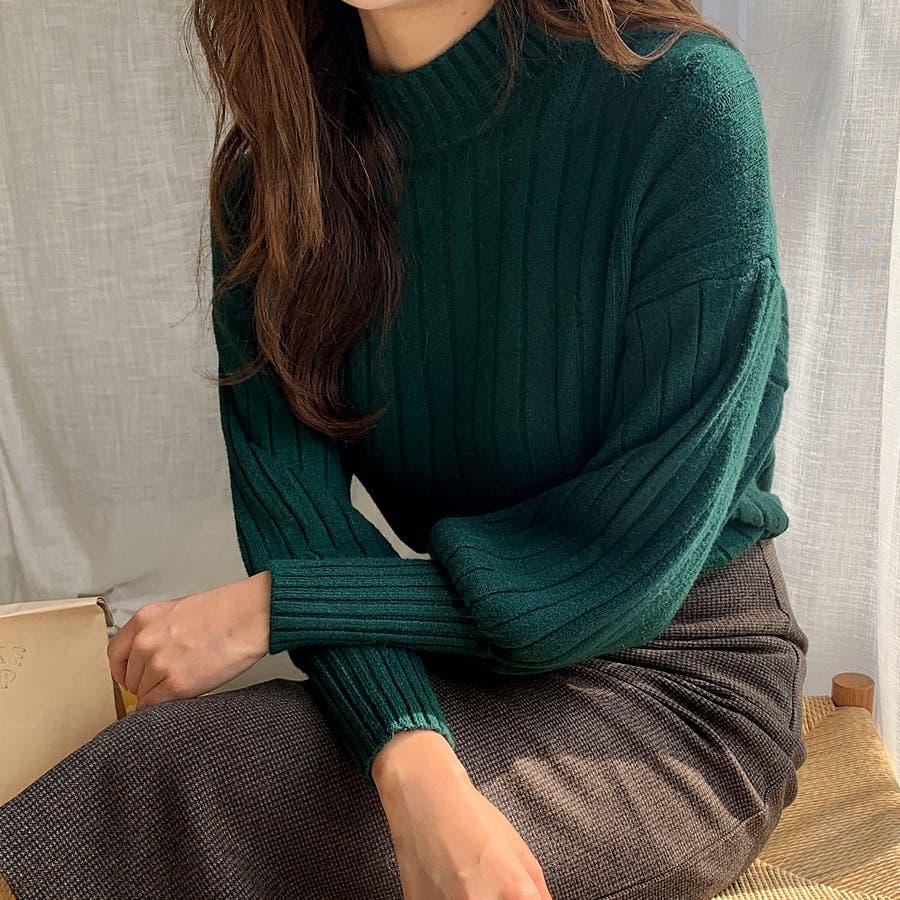 ボールドリブバルーンスリーブハイネックニット★韓国ファッション/カジュアル/デイリールック/フェミニンルック/オルチャンファッション 5