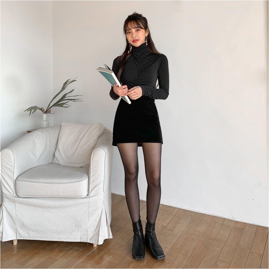 フロントシャーリングハイネックTシャツ★韓国ファッション/カジュアル/デイリールック/フェミニンルック/オルチャンファッション 5