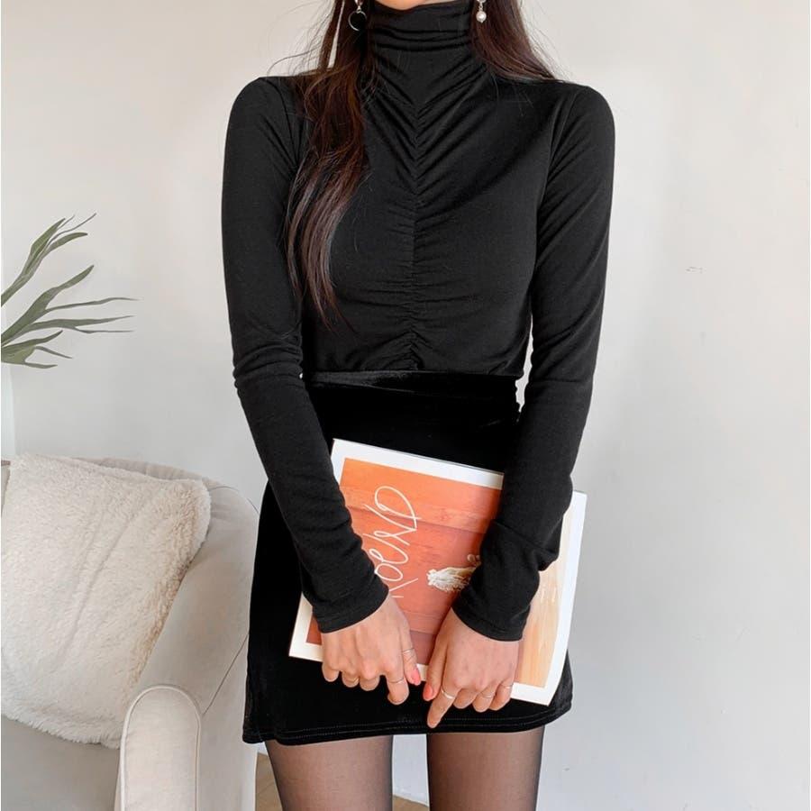 フロントシャーリングハイネックTシャツ★韓国ファッション/カジュアル/デイリールック/フェミニンルック/オルチャンファッション 21