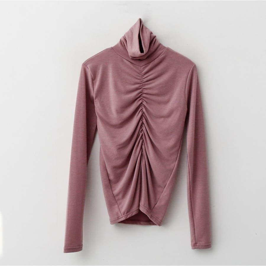 フロントシャーリングハイネックTシャツ★韓国ファッション/カジュアル/デイリールック/フェミニンルック/オルチャンファッション 87