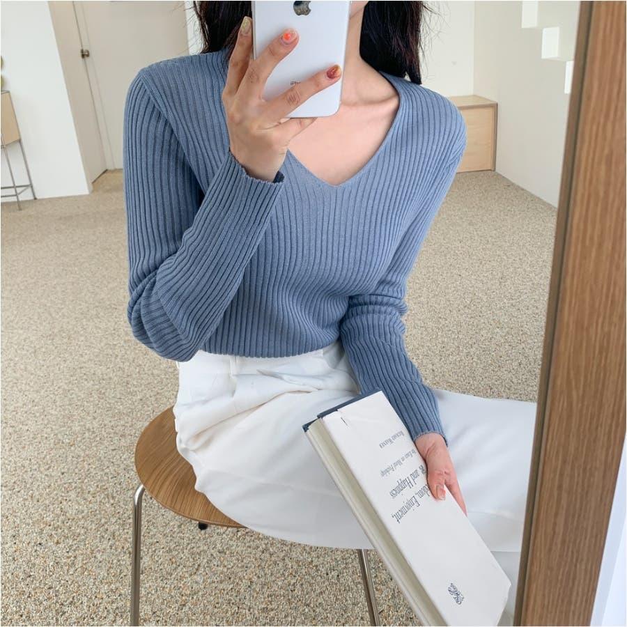 シンプルリブVネックニット★韓国ファッション/カジュアル/デイリールック/フェミニンルック/オルチャンファッション 2