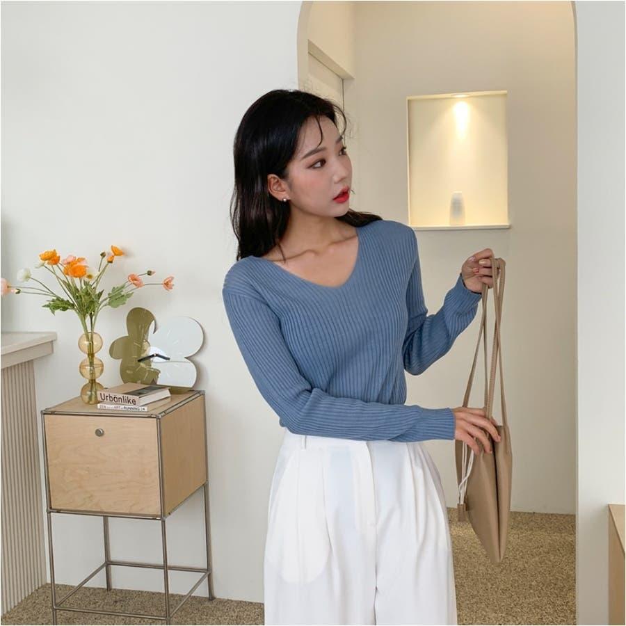 シンプルリブVネックニット★韓国ファッション/カジュアル/デイリールック/フェミニンルック/オルチャンファッション 5