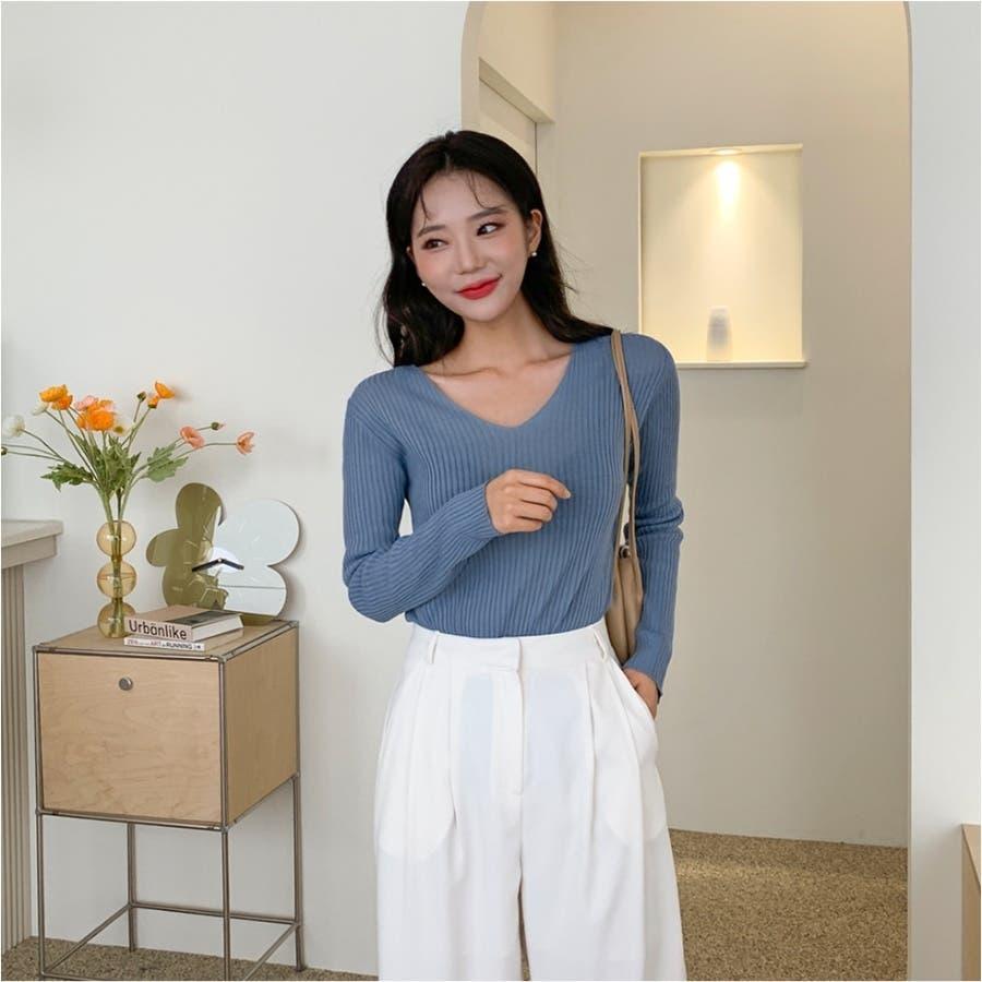 シンプルリブVネックニット★韓国ファッション/カジュアル/デイリールック/フェミニンルック/オルチャンファッション 59