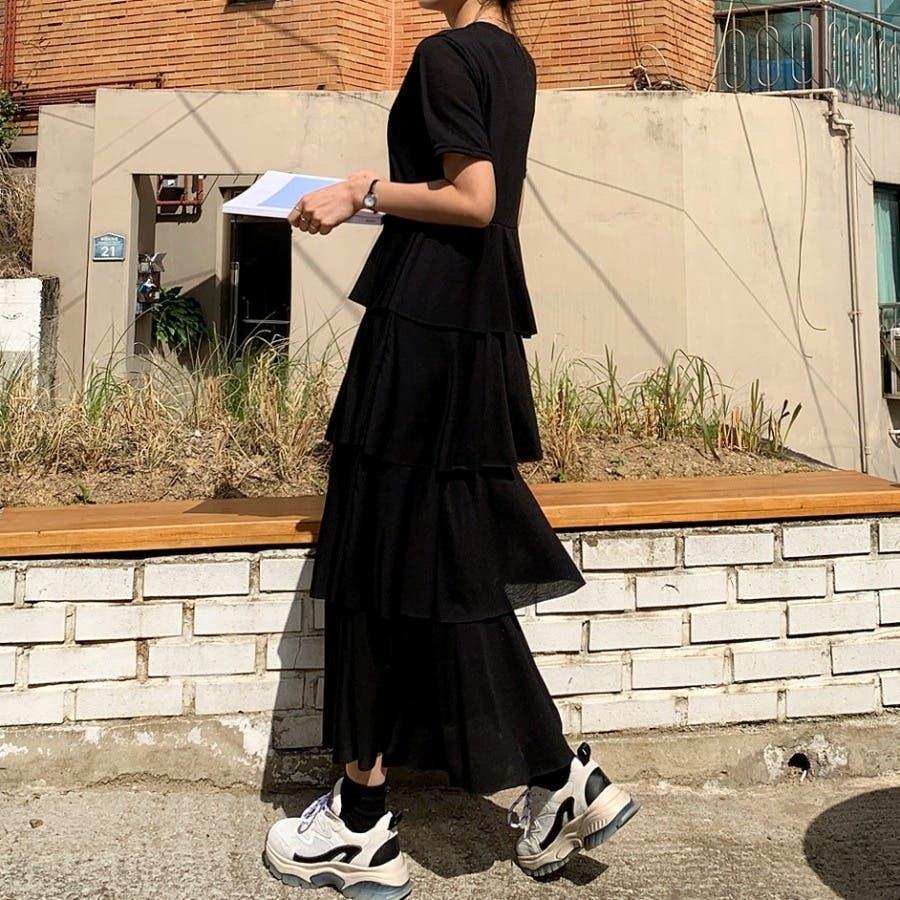 [ENVYLOOK]半袖カットオフティアードマキシワンピース★韓国ファッション/カジュアル/デイリールック/フェミニンルック/オルチャンファッション/プチプラ/ストリート 8