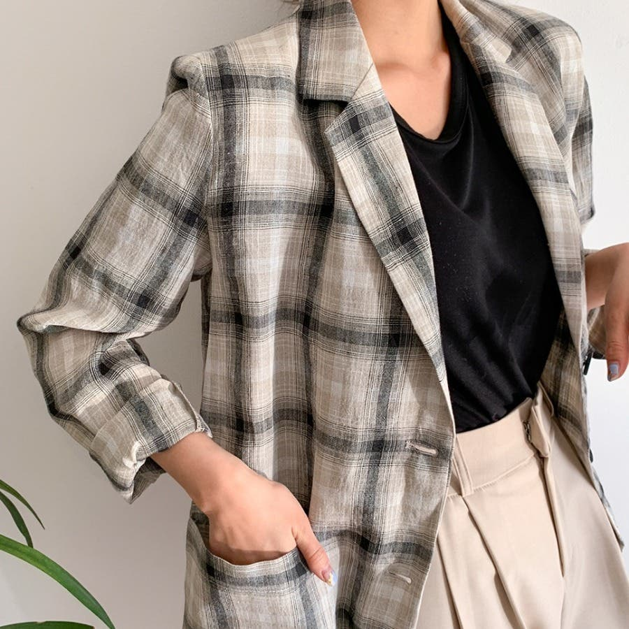 リネンチェックテーラードジャケット★韓国ファッション/カジュアル/デイリールック/フェミニンルック/オルチャンファッション/プチプラ/ストリート 4