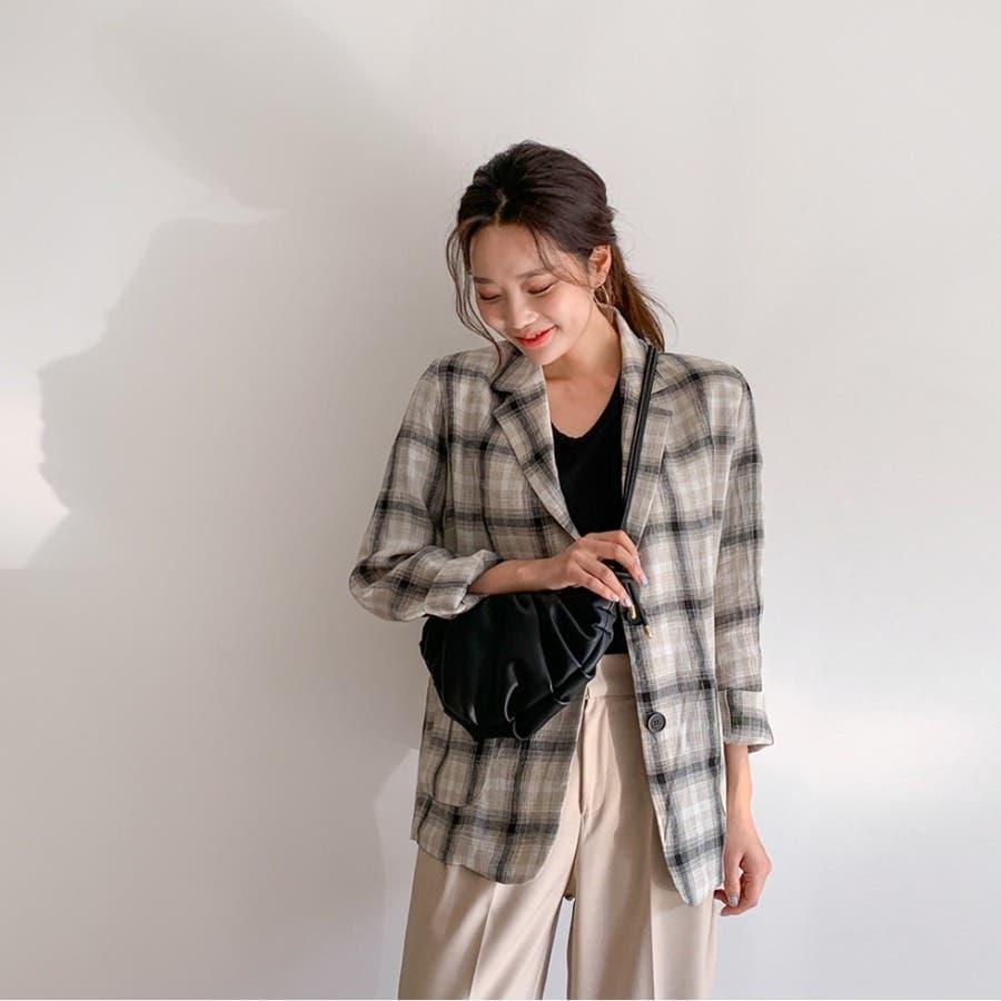 リネンチェックテーラードジャケット★韓国ファッション/カジュアル/デイリールック/フェミニンルック/オルチャンファッション/プチプラ/ストリート 7