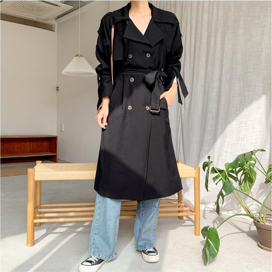 リボンダブルトレンチコート★韓国ファッション/カジュアル/デイリールック/フェミニンルック/オルチャンファッション 4
