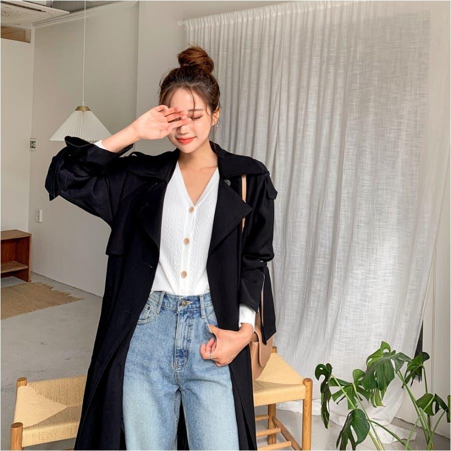 リボンダブルトレンチコート★韓国ファッション/カジュアル/デイリールック/フェミニンルック/オルチャンファッション 5