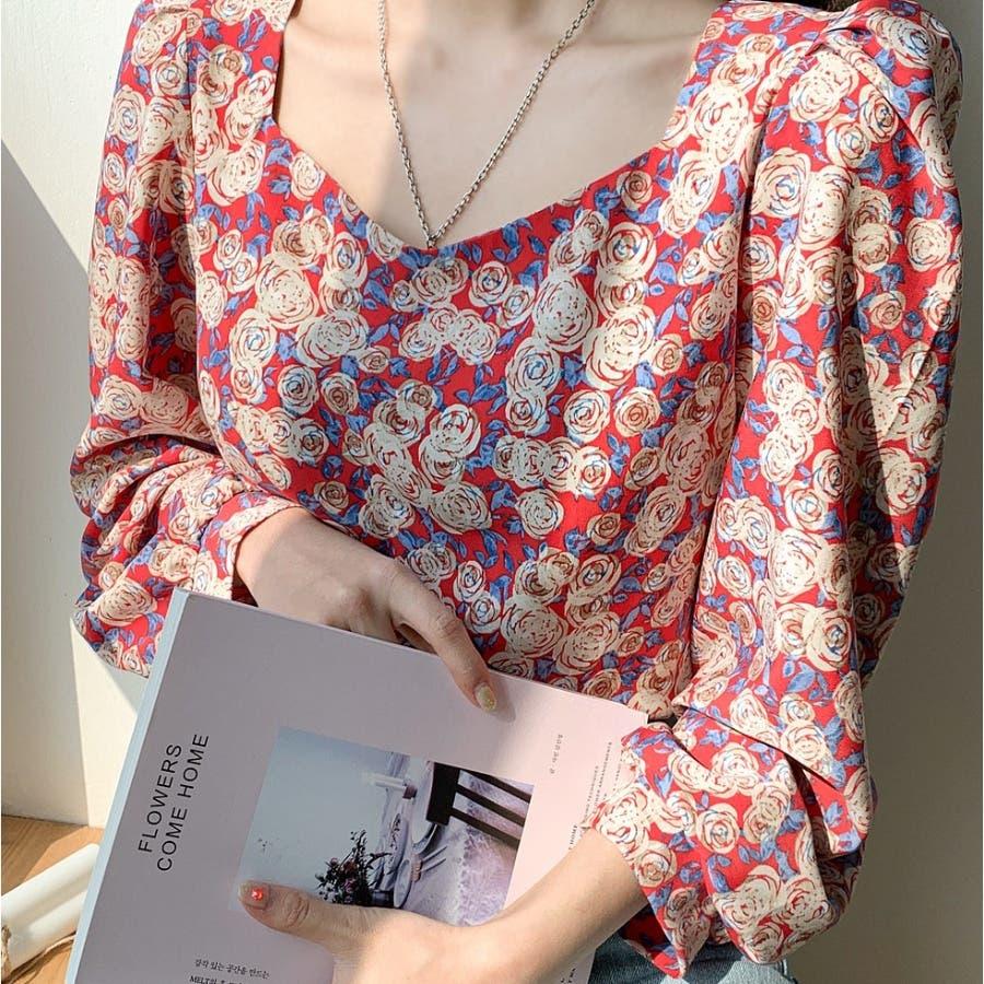 ペンタゴンネックローズパターンブラウス★韓国ファッション/カジュアル/デイリールック/フェミニンルック/オルチャンファッション 2