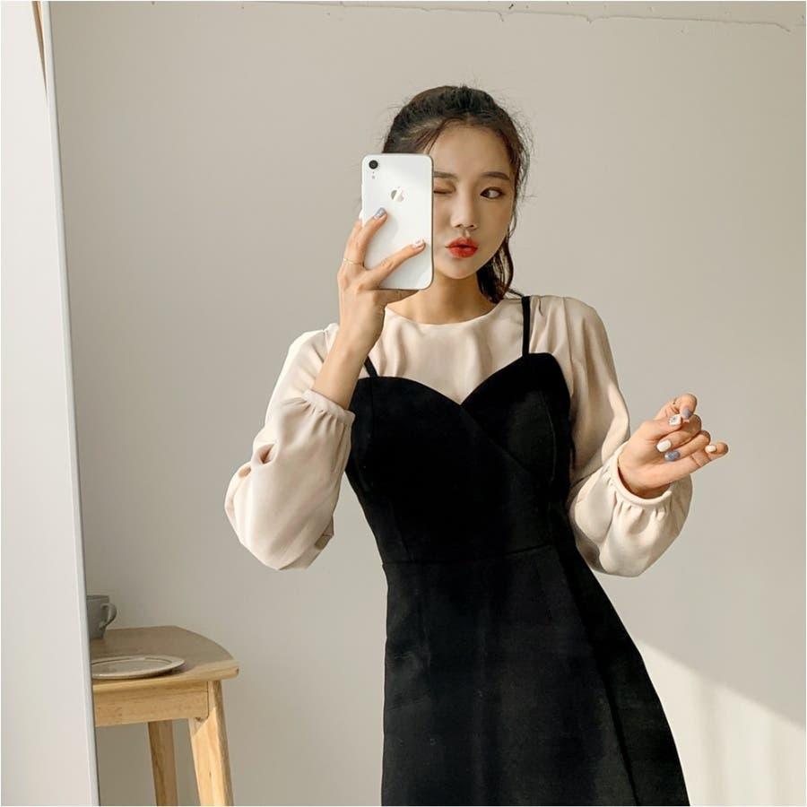 曲線ラインビスチェキャミワンピース★韓国ファッション/カジュアル/デイリールック/フェミニンルック/オルチャンファッション 2