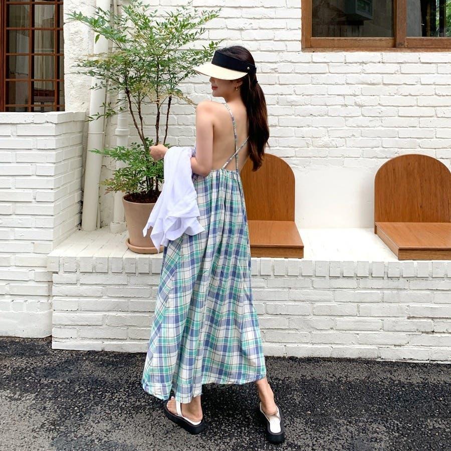 [ENVYLOOK]コットンチェックバッククロスキャミワンピース★韓国ファッション/カジュアル/デイリールック/フェミニンルック/オルチャンファッション/プチプラ/ストリート 3