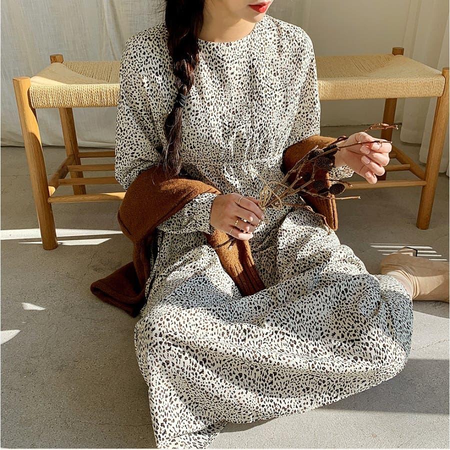 ウエストサイドダブルリボンレオパードロングワンピース★韓国ファッション/カジュアル/デイリールック/フェミニンルック/オルチャンファッション 44