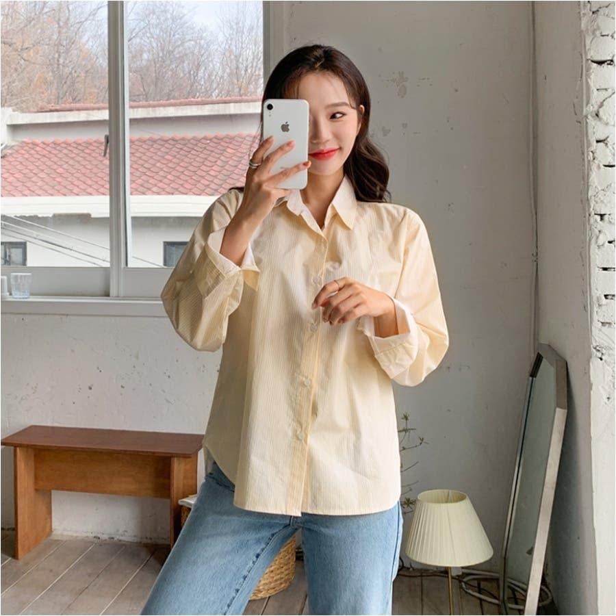 パステルカラーストライプシャツ★韓国ファッション/カジュアル/デイリールック/フェミニンルック/オルチャンファッション 3
