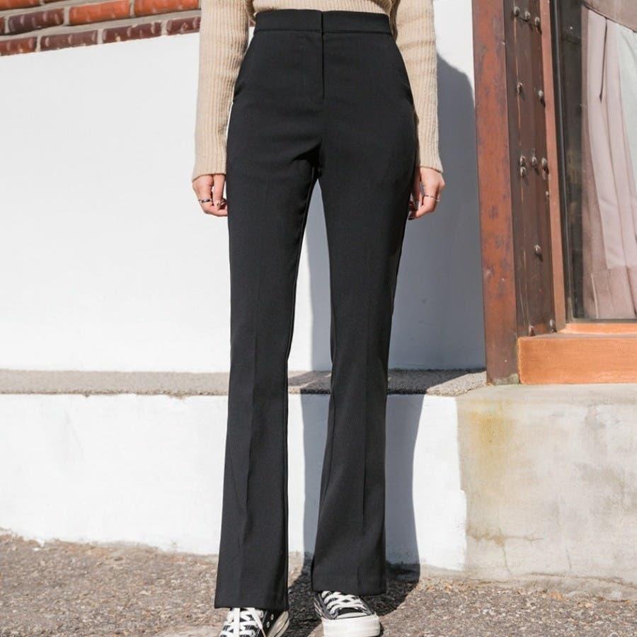 シンプルロングスラックスパンツ 韓国ファッション カジュアル 1