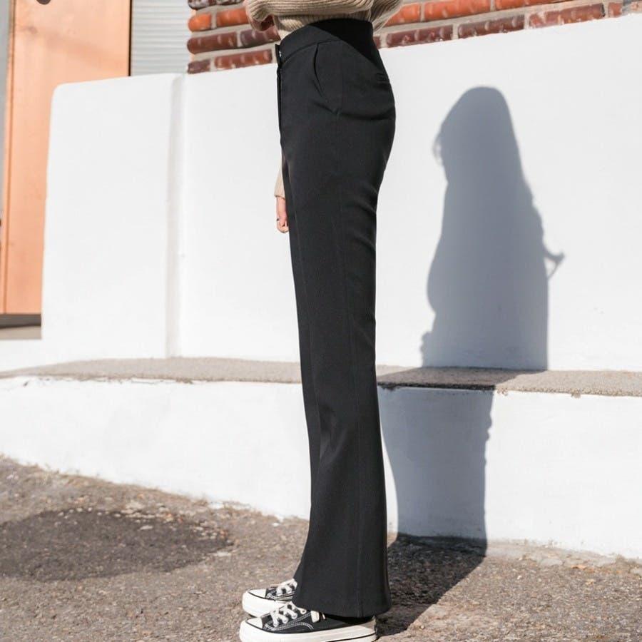 シンプルロングスラックスパンツ 韓国ファッション カジュアル 3
