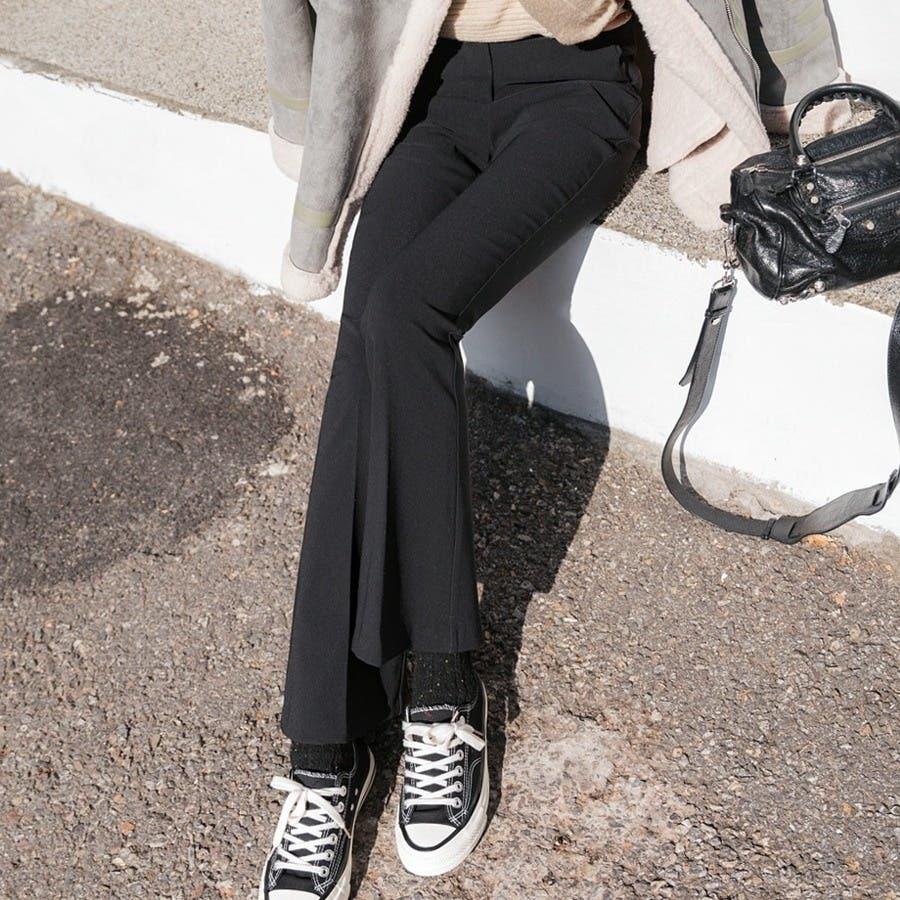 シンプルロングスラックスパンツ 韓国ファッション カジュアル 5