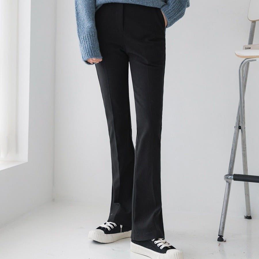 シンプルロングスラックスパンツ 韓国ファッション カジュアル 21