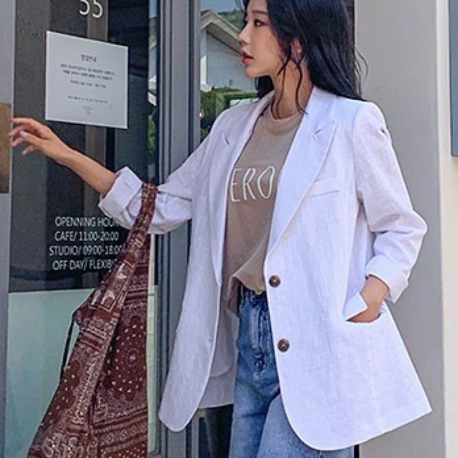 [ENVYLOOK]リネンバックスリットテーラードジャケット★韓国ファッション/カジュアル/デイリールック/フェミニンルック/オルチャンファッション/プチプラ/ストリート 2