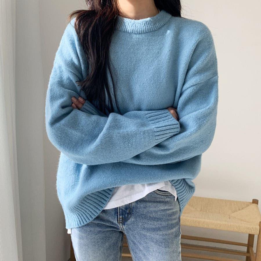 ルーズフィットシンプルラウンドニット★韓国ファッション/カジュアル/デイリールック/フェミニンルック/オルチャンファッション 3