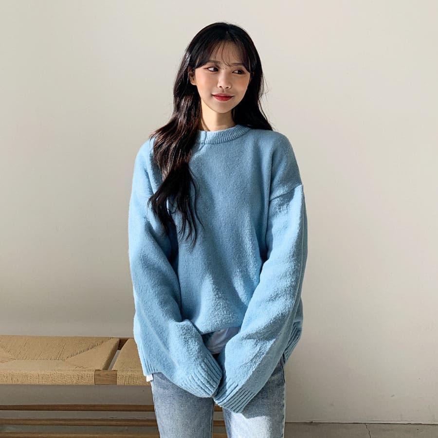 ルーズフィットシンプルラウンドニット★韓国ファッション/カジュアル/デイリールック/フェミニンルック/オルチャンファッション 4