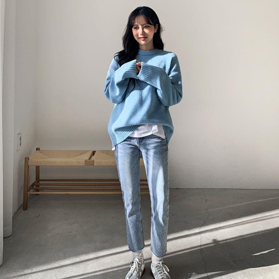 ルーズフィットシンプルラウンドニット★韓国ファッション/カジュアル/デイリールック/フェミニンルック/オルチャンファッション 5