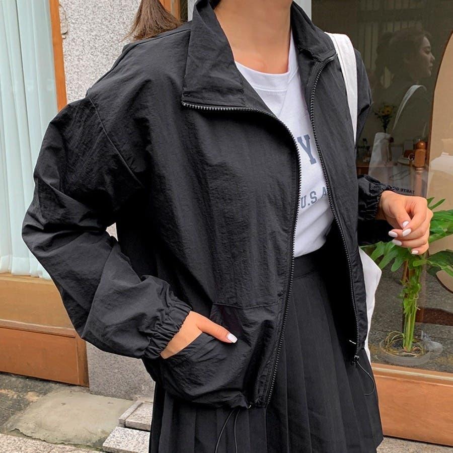 [ENVYLOOK]ストリング裾ハイネックジップアップ★韓国ファッション/カジュアル/デイリールック/フェミニンルック/オルチャンファッション/プチプラ/ストリート 1