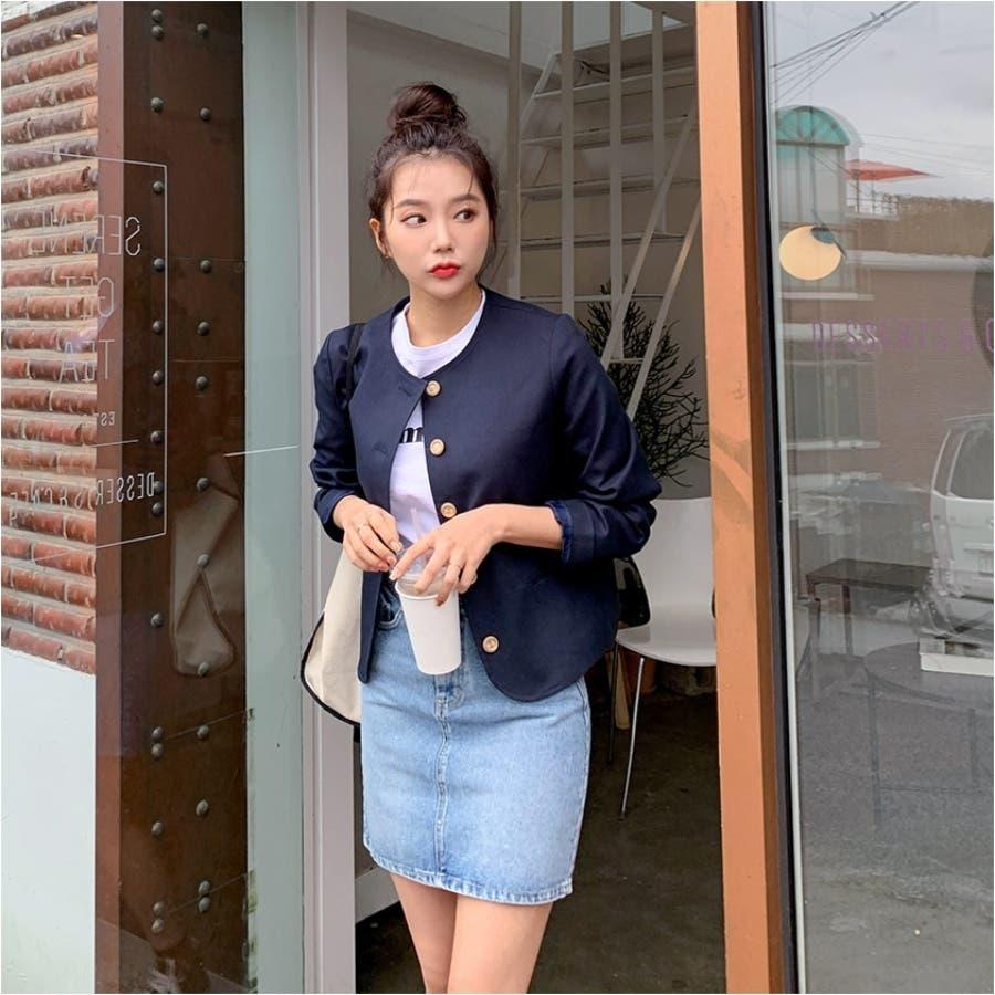 ヴィンテージボタンノーカラージャケット★韓国ファッション/カジュアル/デイリールック/フェミニンルック/オルチャンファッション 4