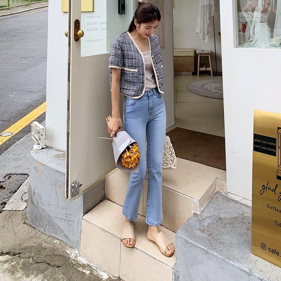 [ENVYLOOK]パールボタン付き半袖クロップドツイードジャケット★韓国ファッション/カジュアル/デイリールック/フェミニンルック/オルチャンファッション/プチプラ/ストリート 2