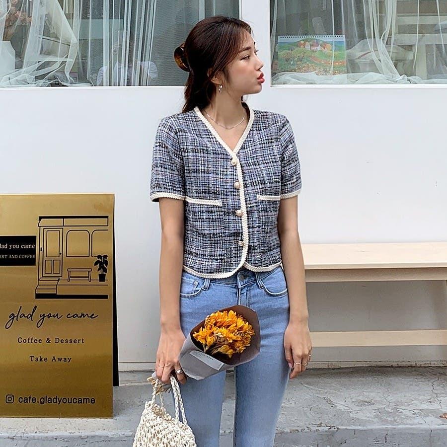[ENVYLOOK]パールボタン付き半袖クロップドツイードジャケット★韓国ファッション/カジュアル/デイリールック/フェミニンルック/オルチャンファッション/プチプラ/ストリート 8
