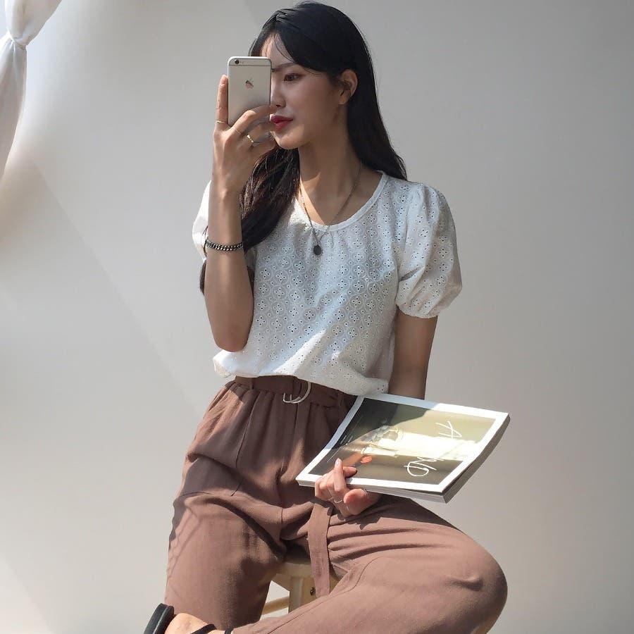 ベルト付きコットンリネンワイドパンツ★韓国ファッション/カジュアル/デイリールック/フェミニンルック/オルチャンファッション 7
