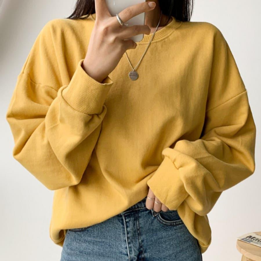 シンプル単色コットンスウェットプルオーバー★韓国ファッション/カジュアル/デイリールック/フェミニンルック/オルチャンファッション 1