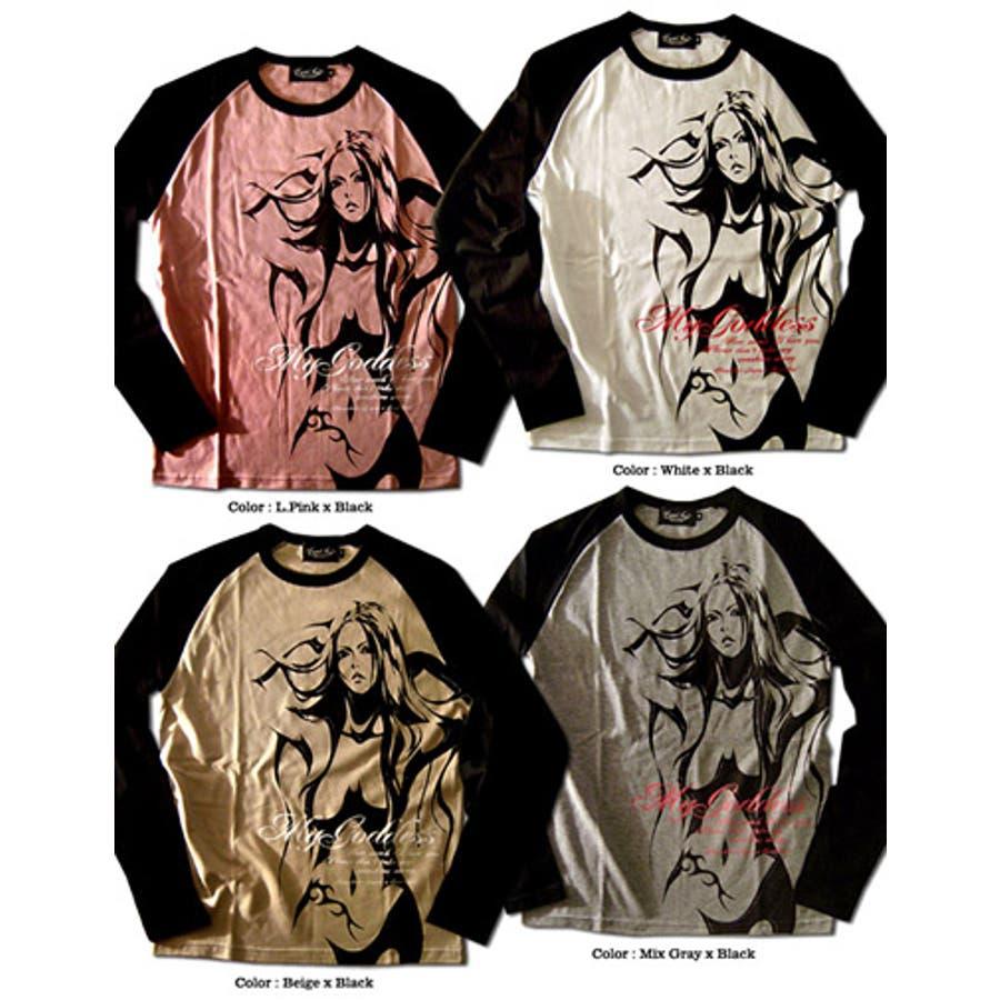 すごくスタイルが良く見えます! メンズファッション通販ラグラン ロンT メンズ ヌードガール プリント コラボ 「AnarchistJAPAN x EVERSOUL My GoddessRagran LST」 ラグランスリーブ 長袖ロングTシャツ メンズ 日本製 MADE IN JAPAN 軍役