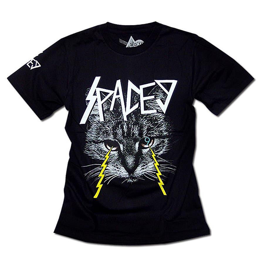 活用度抜群 メンズファッション通販Tシャツ メンズ HIPHOP プリント 半袖 Tシャツ ストリート ネコ 猫 キャット ロック 黒 XL   大きな猫の顔がインパクトのあるグラフィックプリントTシャツ! 麦酒