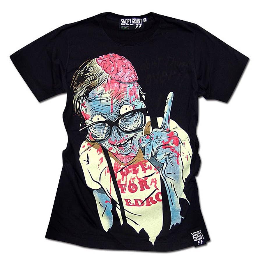 極上の着心地が体感できる メンズファッション通販Tシャツ メンズ HIPHOP スケーター パンク ゾンビ プリント 半袖 tシャツ ストリート ロック 黒 ブラック   「SNORT GRUNT」のグラフィックプリントTシャツ! 爆心