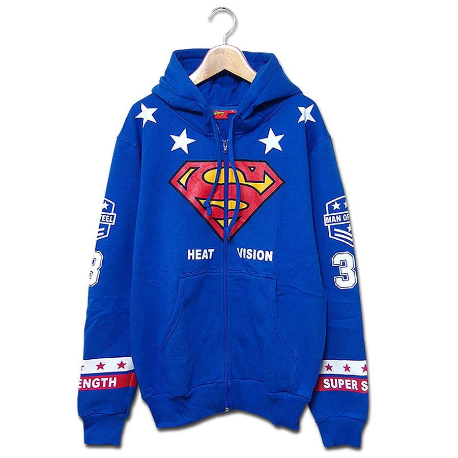 ファッションのキーポイントになる スーパーマン パーカー グッズ SUPER MAN ジップパーカー   スーパーマン×ミニットマースのスーパーマンマークプリントコラボ裏起毛ジップパーカー! 大きいサイズ ダンス 衣装 撃墜