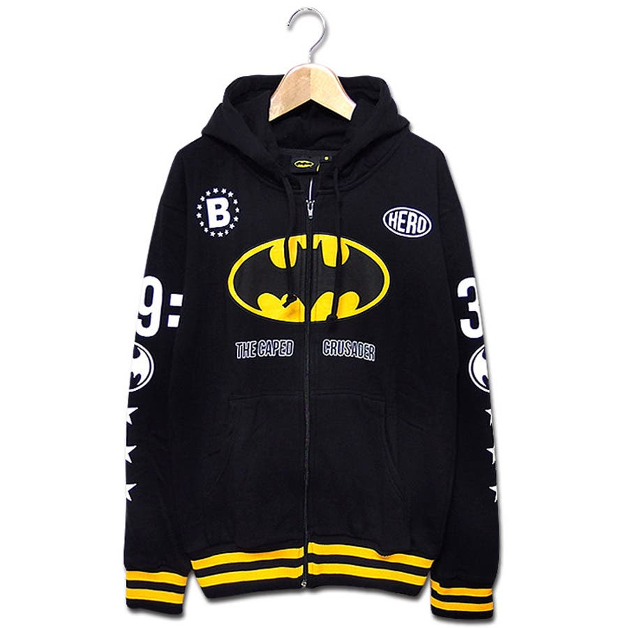 普段使いできる メンズファッション通販バットマン パーカー グッズ BATMAN ジップパーカー   バットマン×ミニットマースのバットマンマークプリントコラボ裏起毛ジップパーカー! 大きいサイズ ダンス 衣装 剛猛