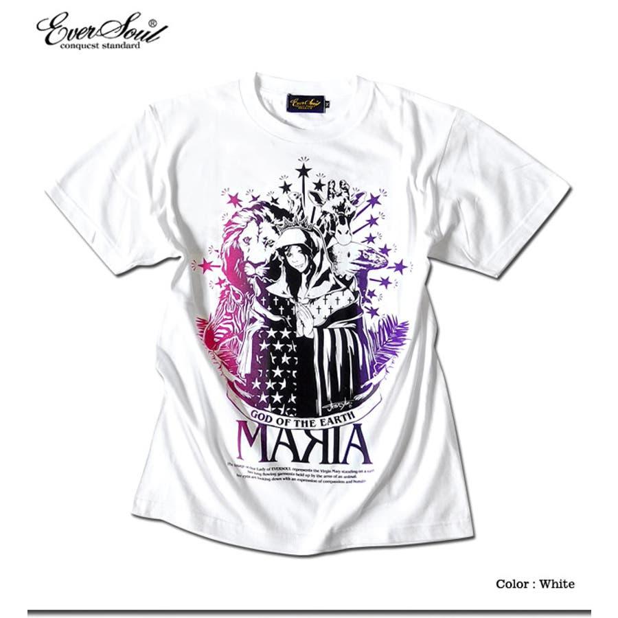 Tシャツ メンズ ガールプリント 半袖 聖母 マリア 女の子柄 キャラクター ホワイト 白 ブラック 黒 tシャツ jb style EVERSOUL コラボ 2