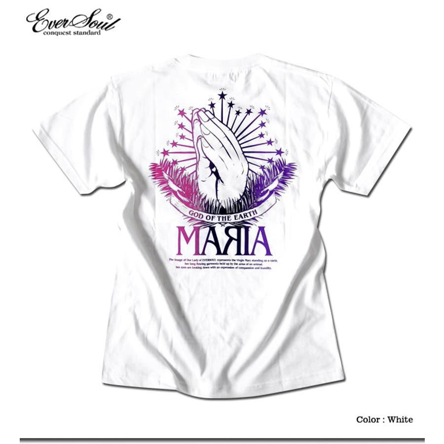 Tシャツ メンズ ガールプリント 半袖 聖母 マリア 女の子柄 キャラクター ホワイト 白 ブラック 黒 tシャツ jb style EVERSOUL コラボ 3