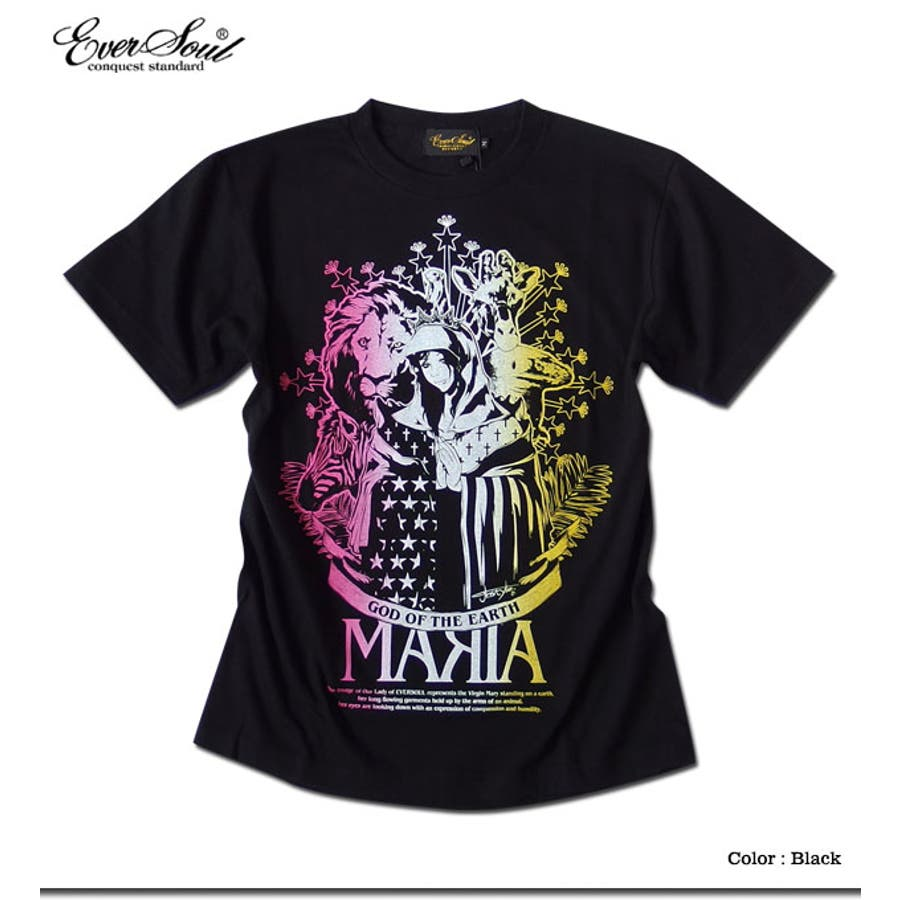 Tシャツ メンズ ガールプリント 半袖 聖母 マリア 女の子柄 キャラクター ホワイト 白 ブラック 黒 tシャツ jb style EVERSOUL コラボ 4