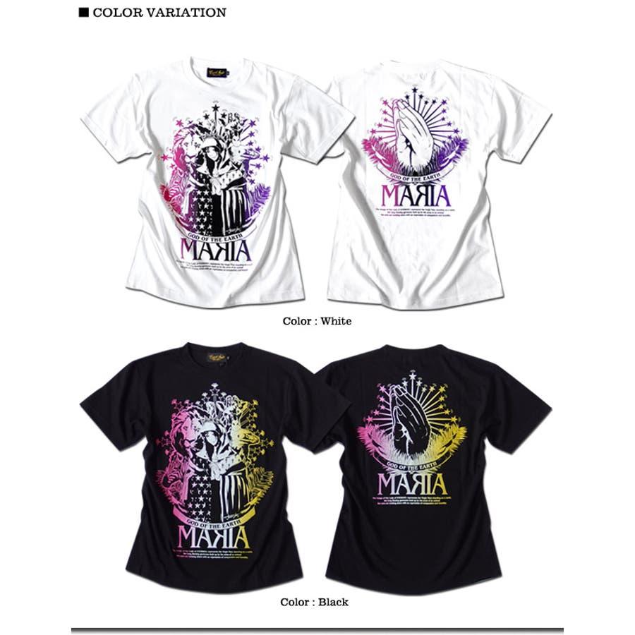 Tシャツ メンズ ガールプリント 半袖 聖母 マリア 女の子柄 キャラクター ホワイト 白 ブラック 黒 tシャツ jb style EVERSOUL コラボ 6