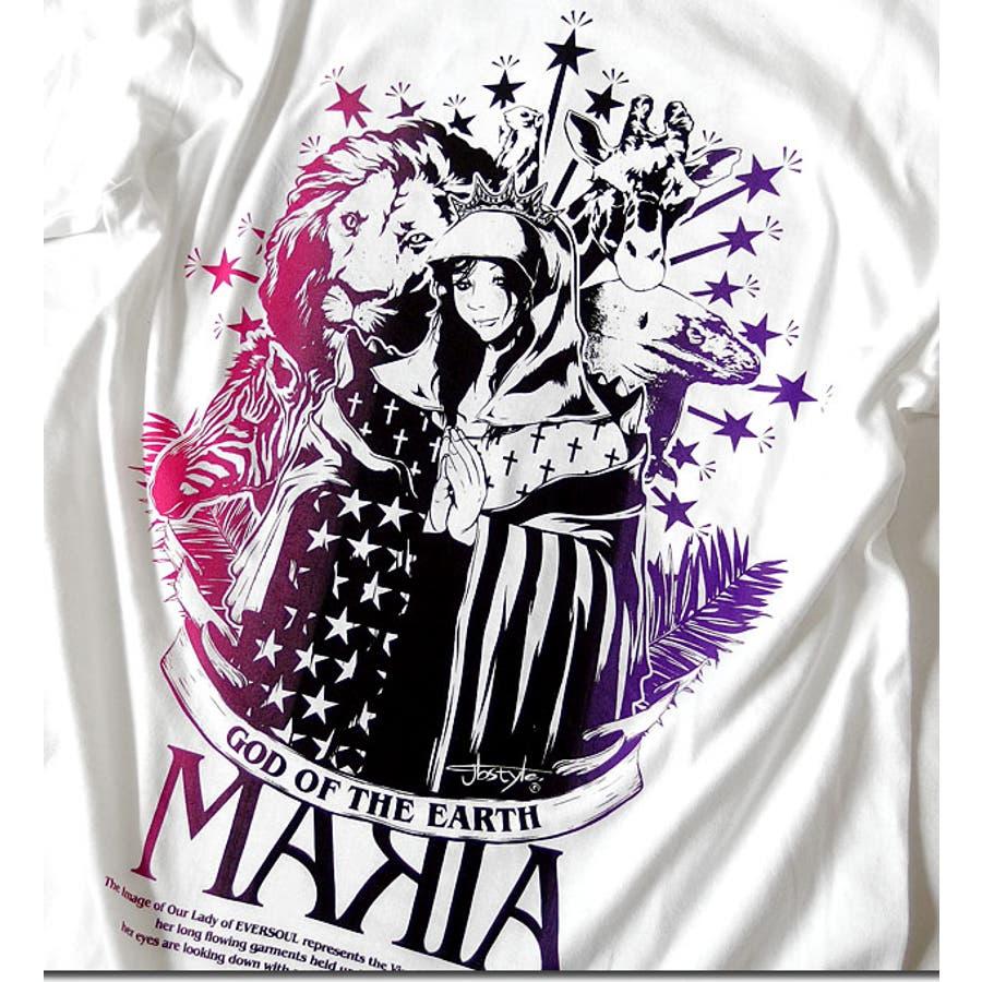 Tシャツ メンズ ガールプリント 半袖 聖母 マリア 女の子柄 キャラクター ホワイト 白 ブラック 黒 tシャツ jb style EVERSOUL コラボ 7