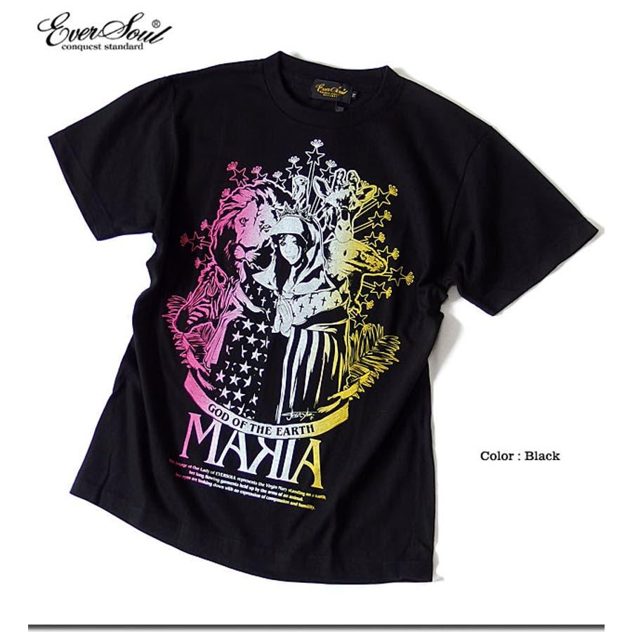 Tシャツ メンズ ガールプリント 半袖 聖母 マリア 女の子柄 キャラクター ホワイト 白 ブラック 黒 tシャツ jb style EVERSOUL コラボ 8