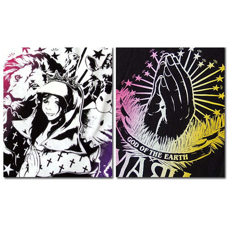 Tシャツ メンズ ガールプリント 半袖 聖母 マリア 女の子柄 キャラクター ホワイト 白 ブラック 黒 tシャツ jb style EVERSOUL コラボ 9