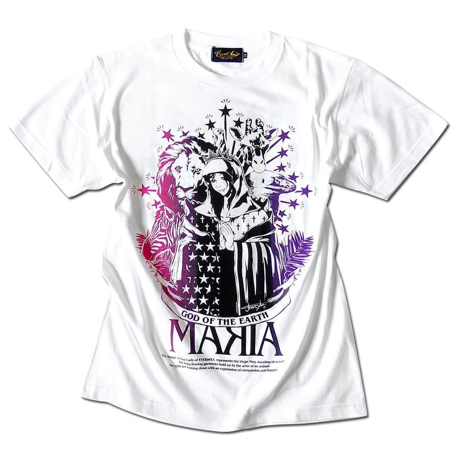 Tシャツ メンズ ガールプリント 半袖 聖母 マリア 女の子柄 キャラクター ホワイト 白 ブラック 黒 tシャツ jb style EVERSOUL コラボ 16