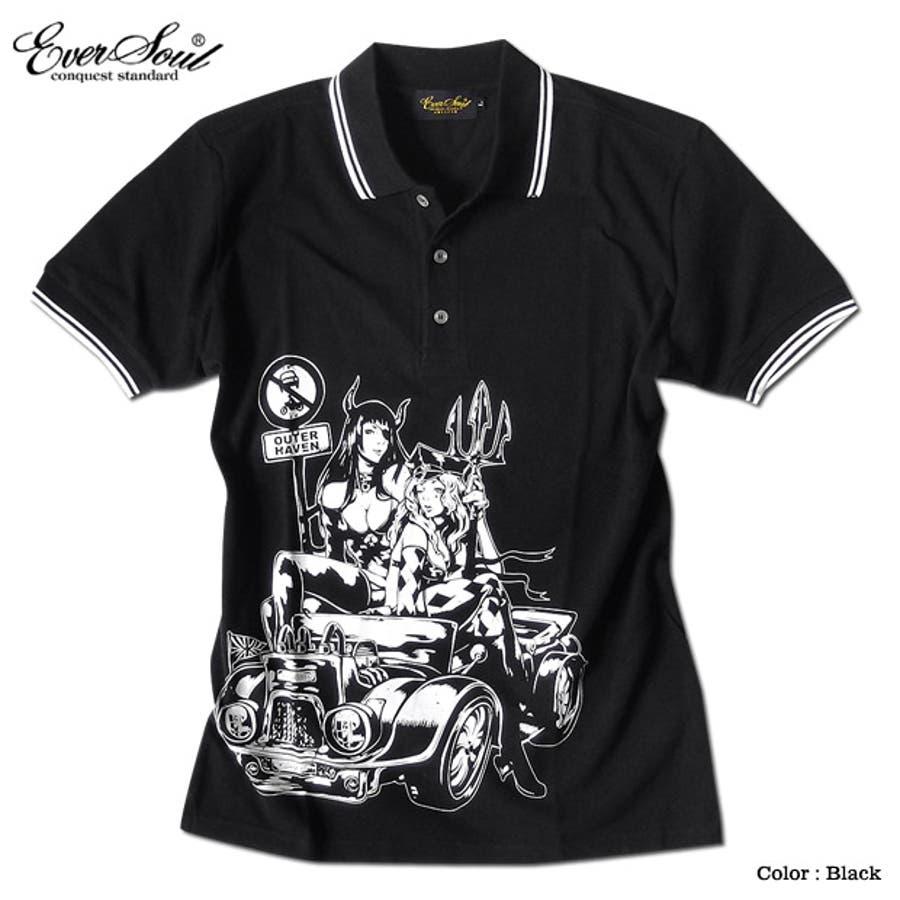 ポロシャツ メンズ jb style ジェイビースタイル EVERSOUL コラボ ライン入り モーターサイクル イラスト ガールプリント ブラック 黒 白 細身 ロック 3