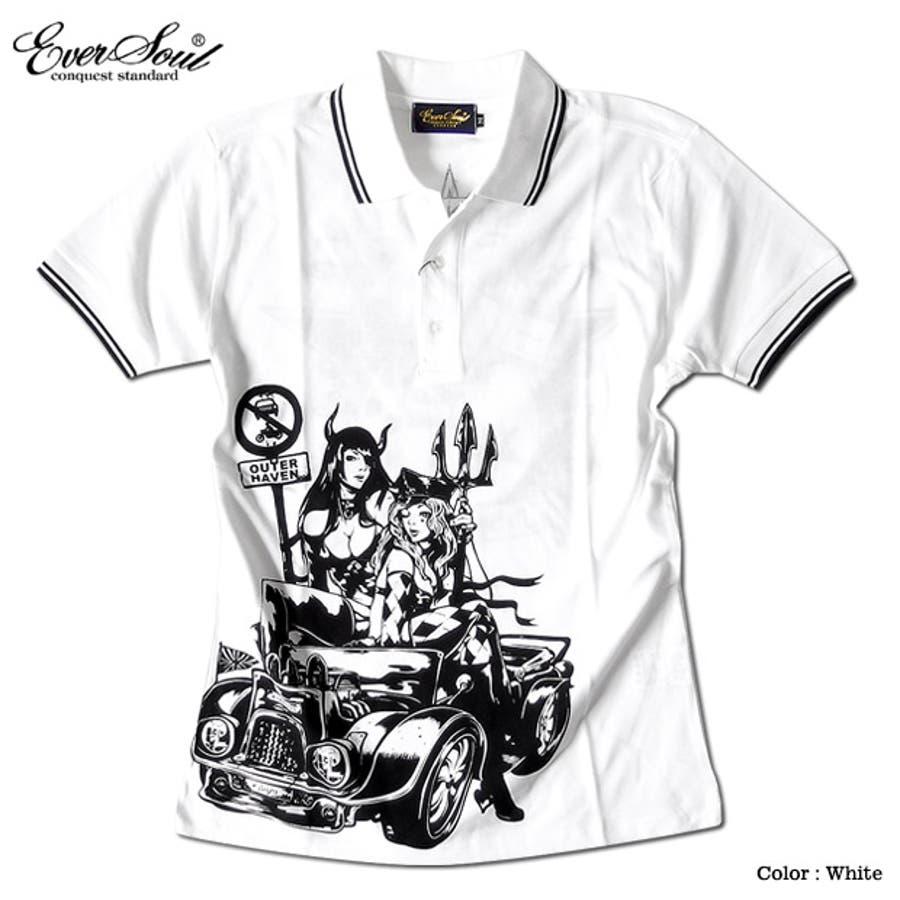 ポロシャツ メンズ jb style ジェイビースタイル EVERSOUL コラボ ライン入り モーターサイクル イラスト ガールプリント ブラック 黒 白 細身 ロック 4